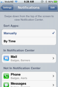 items in notification centre